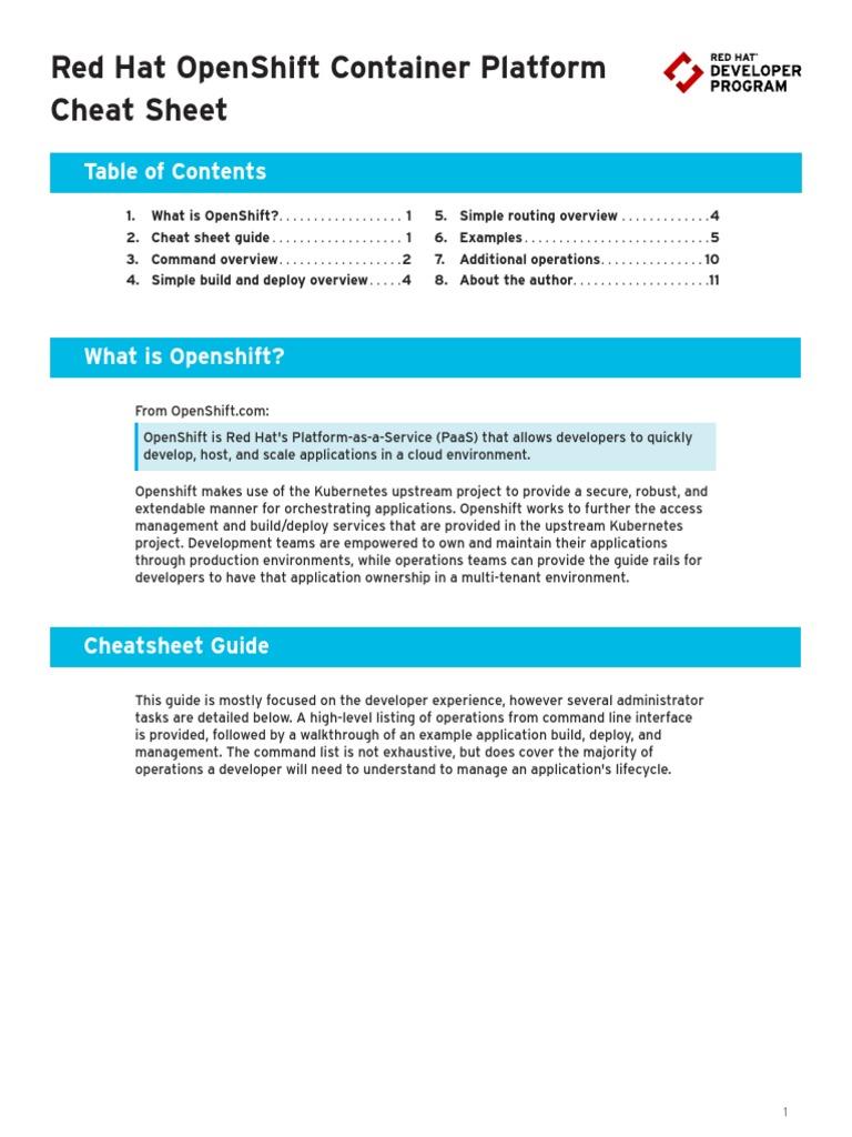 OpenShift Cheat Sheat | Platform As A Service | Information