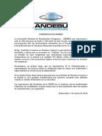 Comunicado de Andebu- Preocupacion Ante Las Declaraciones Del Presidente de Ursec