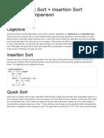Hybrid Quick Sort + Insertion Sort_ Runtime Comparison