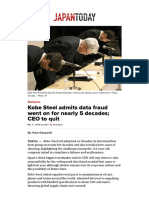 Kobe Steel Admits Data Fraud Went on for Nearly 5 Decades; CEO to Quit - Japan Today