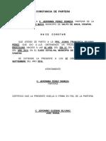 Constancia de Partera Palenque