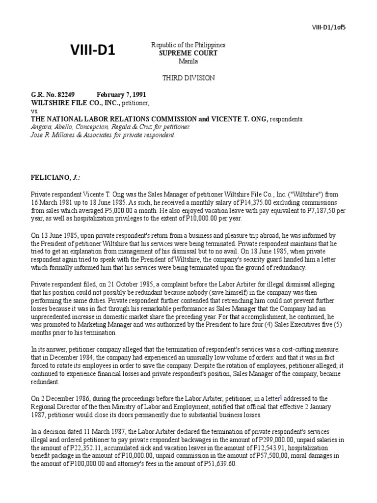 Wiltshire File Co , Inc vs Nlrc, Gr No  82249   Layoff   Employment