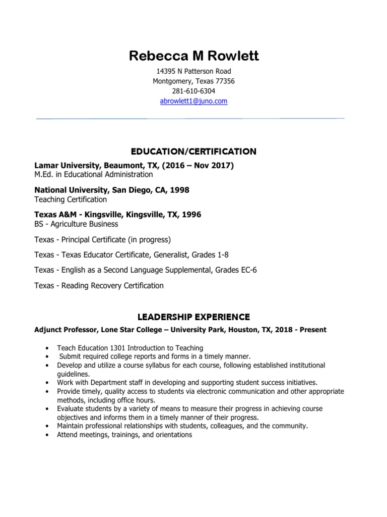 rebecca m rowlett resume 1 2018 | Teachers | Teaching