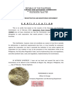 Compliance Monitoring Certificate