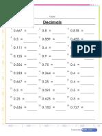 Convert Fractions to Decimals Worksheet