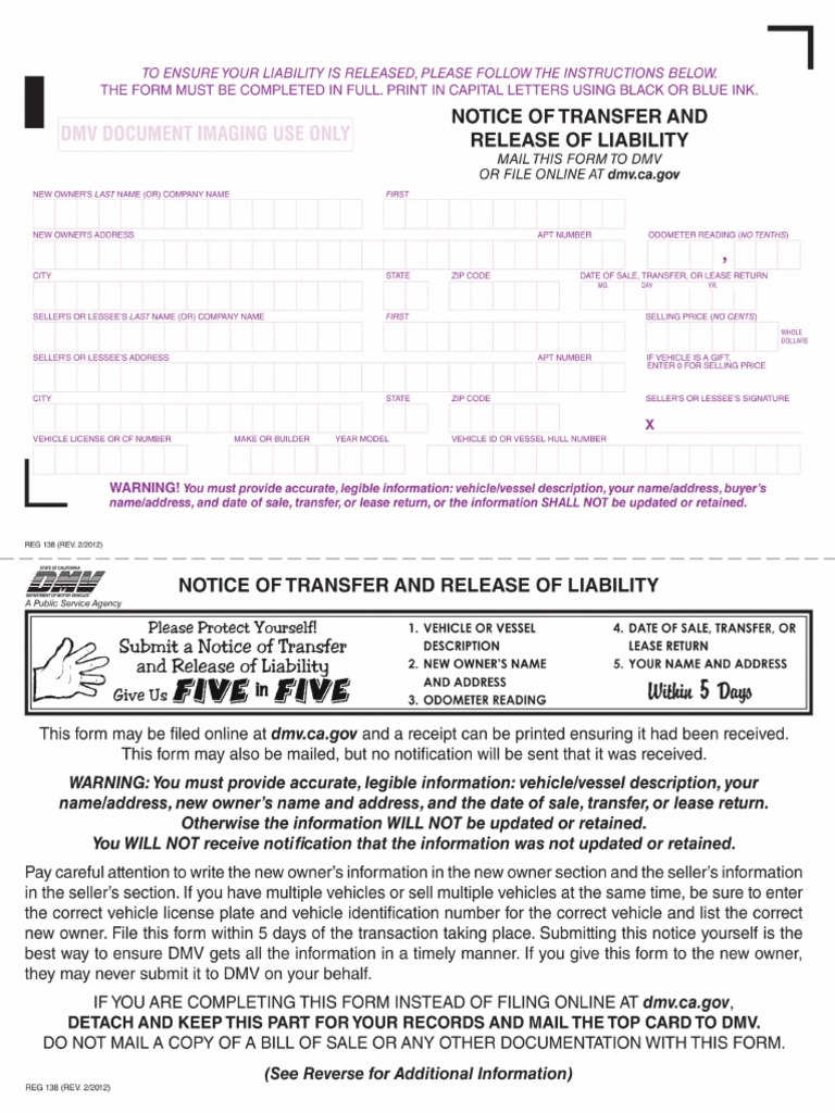 Dmv Release Of Liability >> Reg 138 Notice Of Transfer And Release Of Liability