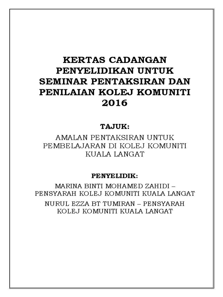 Proposal Amalan Pentaksiran Untuk Pembelajaran Di Kolej Komuniti Kuala Langat