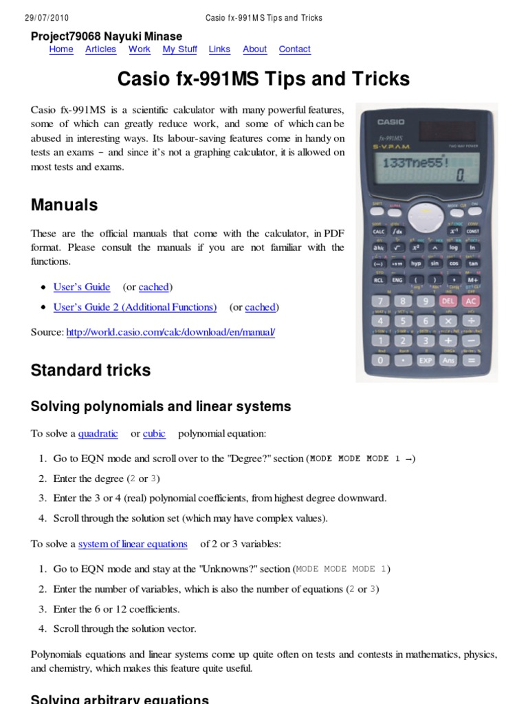 How To Calculate Standard Deviation Without Data Document Tips And  Tricks For Calculator Casio Fx570ms