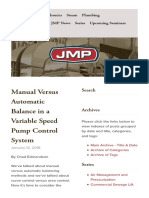 Manual Versus Automatic Balance in a Variable Speed Control System