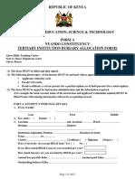 Tertiary Institution Bursary Forms