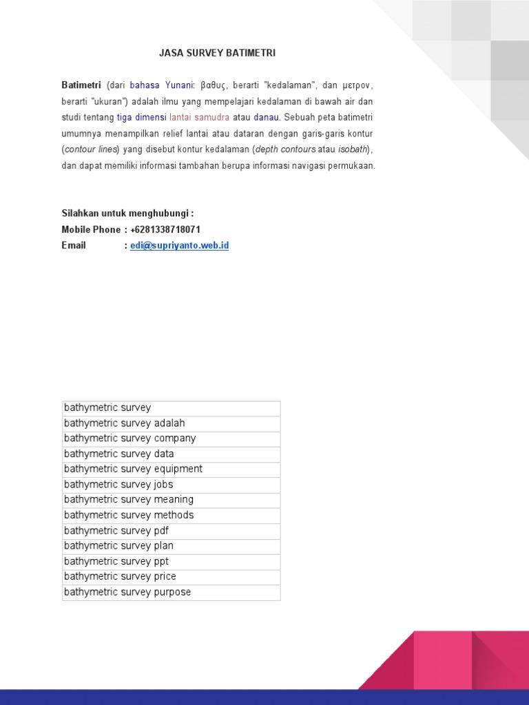 Jasa Survey Bathimetry | bathymetric survey | Pasang Surut