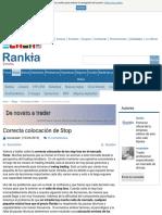 Correcta colocación de Stop desde Rankia