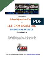 IIT JAM Biological Sciences 2017 Question Paper
