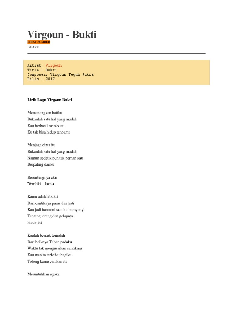 Virgoun lirik bukti stopboris Images