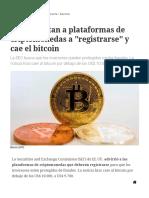 EE.uu_ Instan a Plataformas de Criptomonedas a _registrarse_ y Cae El Bitcoin