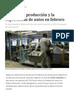 Repuntó La Producción y La Exportación de Autos en Febrero
