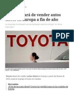 Toyota Dejará de Vender Autos Diésel en Europa a Fin de Año