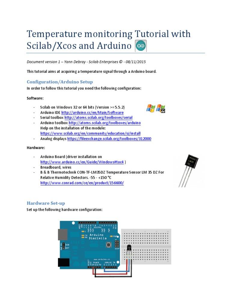 Scilab Arduino Temperature monitoring Tutorial pdf | Arduino