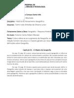Fichamento - Geografia, Pequena História Crítica (OK)