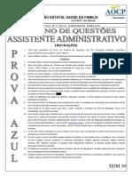 Aocp 2010 Fesf Ba Assistente Administrativo Azul Prova