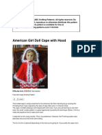 1143 American Girl Doll Cape With Hood Pattern