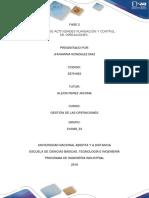 Informe de Actividades Planeacion y Control de Operaciones.