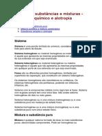 Quim.1 - Cap.3 - Sistemas, Substâncias e Misturas