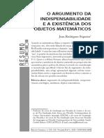 SIQUEIRA, J. O argumento da indispensabilidade e  a existência dos objetos matemáticos.pdf