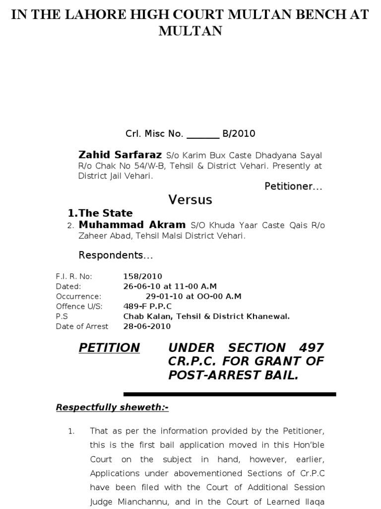Bail Application-High Court | Bail | Legal Procedure