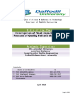 Investigation of Final Inspection Report Reasons of Quality Fail and Their Remedies