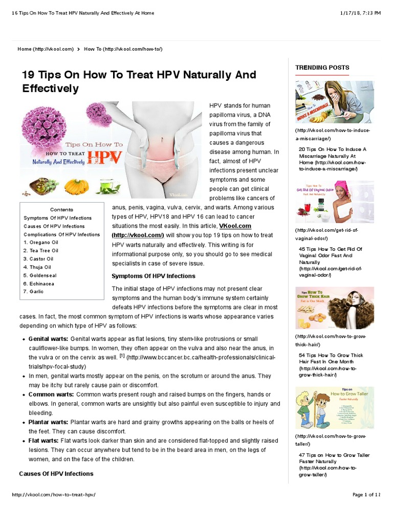 16 Tips on How to Treat HPV Naturally and Effectively at Home | Cervical  Cancer | Infection