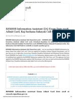 RSMSSB Information Assistant {IA} Admit Card 2018