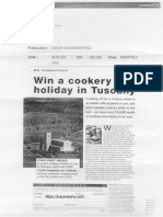 Tuscookany Good Housekeeping August 2001 Cookery Holiday in Tuscany