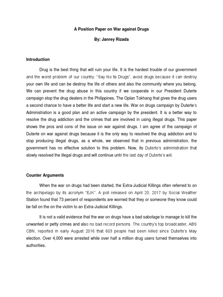 essay about illegal drugs in the philippines