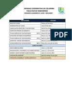 Calendario Académico I-2018