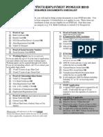 SYEP 2010 Documents Checklist