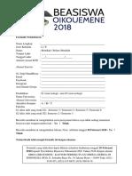 Formulir Pendaftaran Beasiswa Oikouemene 2018