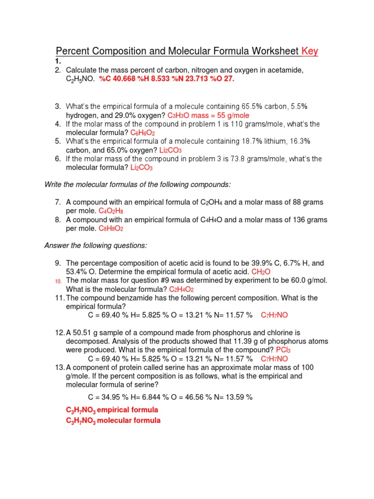 Molecular Mass And Percent Composition Worksheet Answers Promotiontablecovers