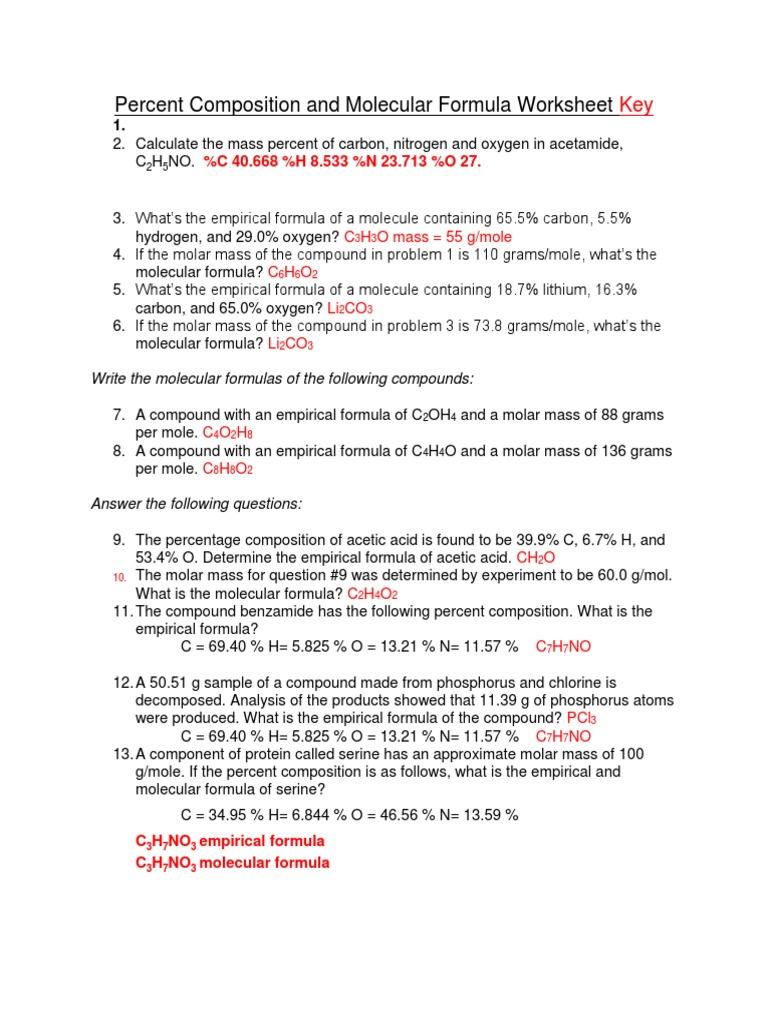 percent composition and molecular formula worksheet key