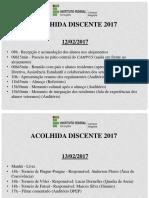 Acolhida Discente 2017
