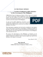 We reject persecution of the Philippine government against indigenous rights defenders