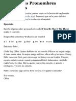 Actividades Pronombres Personales en inglés con soluciones