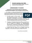 COMUNICADO PNP N° 09 - 2018