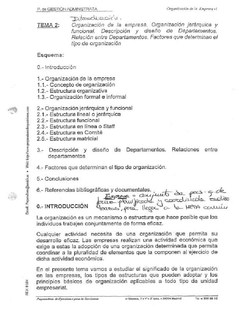 Tema 2 Organización De La Empresa