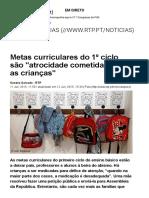 Metas Curriculares Do 1º Ciclo São _atrocidade Cometida Contra as Crianças_ - País - RTP Notícias