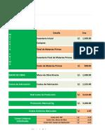 Plantilla de Excel Costo de Produccion