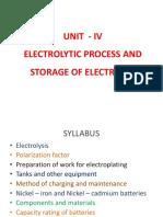 Unit - IV Electrolytic Process
