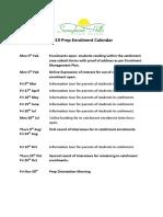 2019 Prep Enrolment Calendar