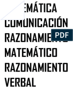 Matemática Comunicación Razonamiento Matemático Razonamiento Verbal Caligrafía Personal Social Ciencia Ambiente Religión