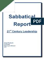 Greg Roebuck Sabbatical Report